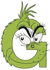 Dr. Seuss alphabet letter G embroidery design