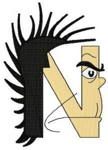 Dr. Seuss alphabet letter N embroidery design