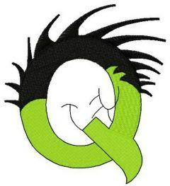 Dr. Seuss alphabet letter Q embroidery design