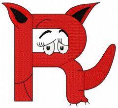 Dr. Seuss alphabet letter R embroidery design