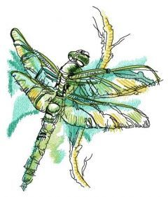 Dragonfly on bush branch embroidery design