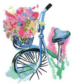 Dreaming about summer bike trip embroidery design