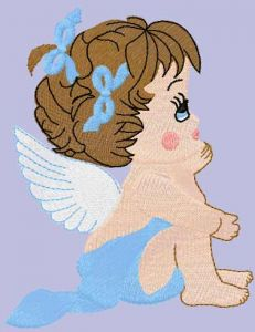 Dreaming baby angel embroidery design