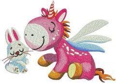 Dreamy unicorn and bunny embroidery design