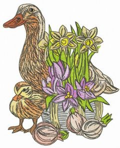 Duck family and daffodils embroidery design