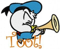 Duck trumpet toot embroidery design
