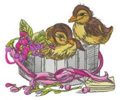 Ducklings in gift box embroidery design