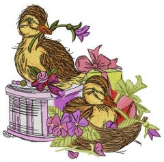 Ducklings with violets embroidery design