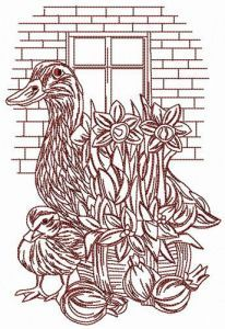 Ducks near brick wall embroidery design