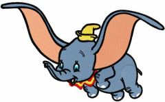 Dumbo flying embroidery design