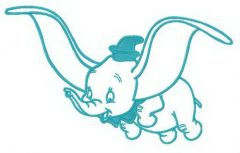 Dumbo is flying embroidery design