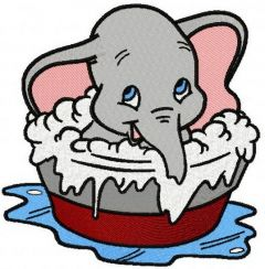 Dumbo taking a bath embroidery design