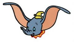Dumbo waving ears embroidery design