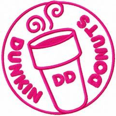 Dunkin Donuts round one colored logo embroidery design