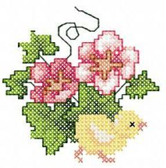 Easter Flowers Chicken embroidery design