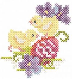 Two Easter chickens embroidery design