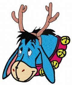 Eeyore with deer horns 3 embroidery design