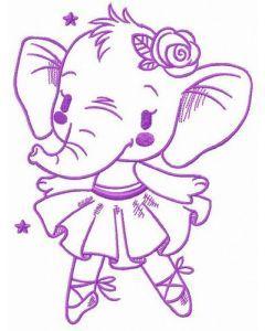 Elephant ballet embroidery design
