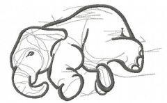 Elephant sketch embroidery design 4