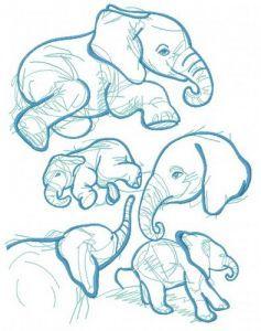 Elephant sketch embroidery design 5