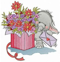 Elephant the courier embroidery design