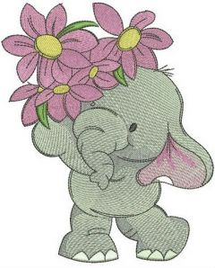 Elephant with small bouquet embroidery design