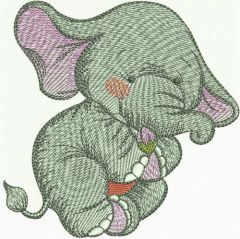Elephant with tine flower bud embroidery design