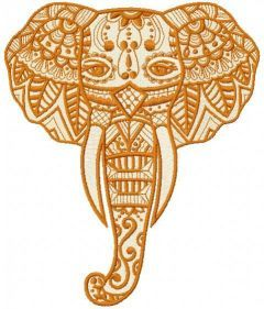 Tribal elephant embroidery design
