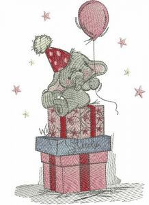 Elephant's 1st birthday party embroidery design