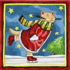 Christmas Cat skating embroidery design