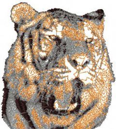 Tiger angry embroidery design