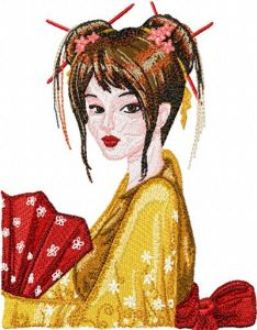 Geisha with Fan 2 embroidery design