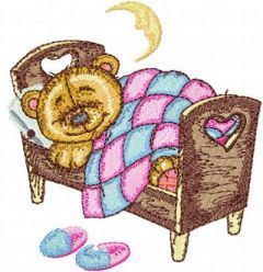 Teddy Bear Sleeping on Bed embroidery design