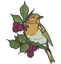 European robin embroidery design