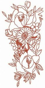 Exotic bouquet embroidery design