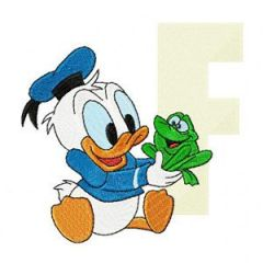 Donald Duck Letter F Frog embroidery design
