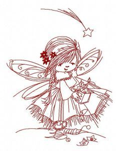 Fairy collecting stars 2 embroidery design