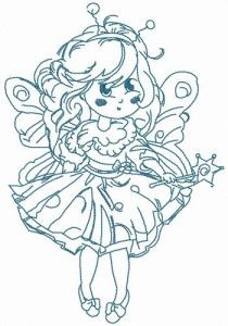 Fairy costume for little girl embroidery design