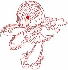 Fairy with gift box embroidery design
