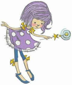 Fairy with moon magic wand embroidery design