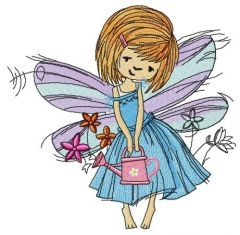 Fairy with watering can embroidery design