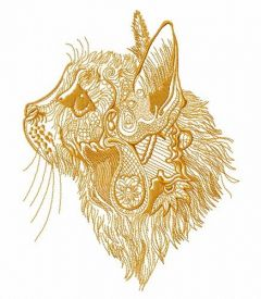 Fancy cat sketch embroidery design