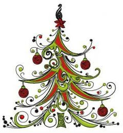 Fancy Christmas tree embroidery design