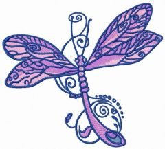 Fancy dragonfly embroidery design