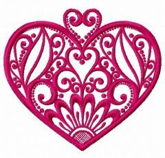 Fancy heart embroidery design 7