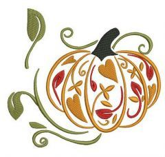 Fancy pumpkin embroidery design