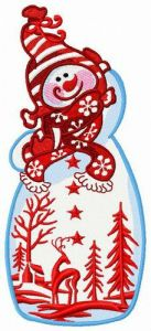 Fancy snowman embroidery design
