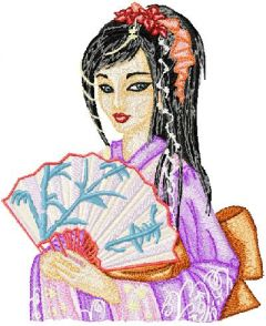 Fantastic Geisha embroidery design