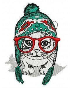 Fashion cat embroidery design