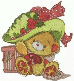 Fashion teddy bear embroidery design